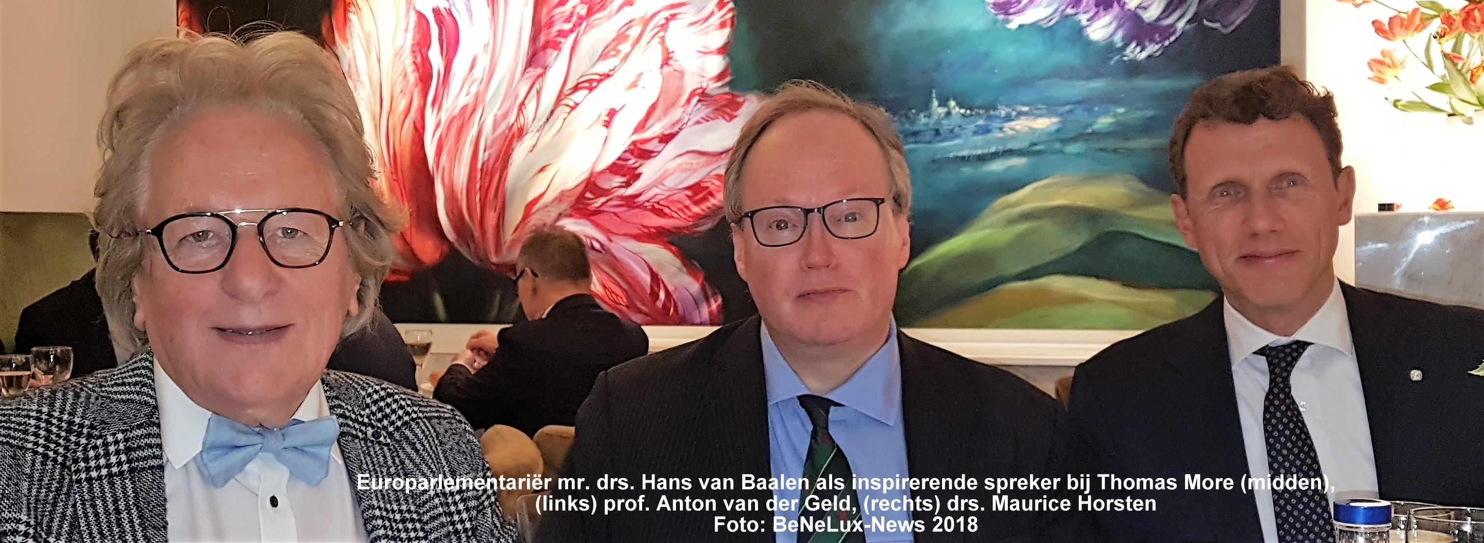 Europarlementariër mr. drs. Hans van Baalen als inspirerende spreker bij Thomas More (midden), (links) prof. Anton van der Geld, (rechts) drs. Maurice Horsten. Foto: BeNeLux-News 2018